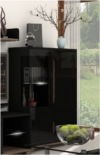 Costa High Gloss Black Low Display Cabinet - 2581